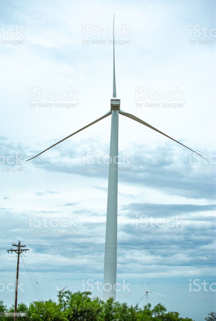 windmill for energy ecology stock photo