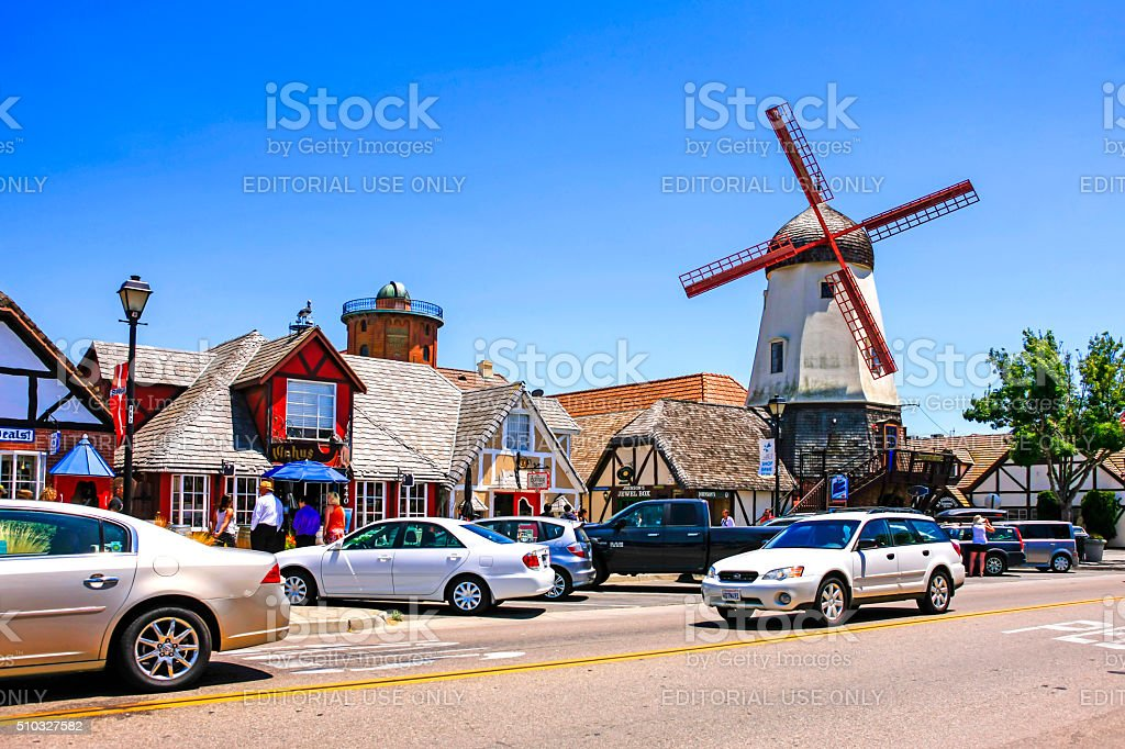 Windmill Glassworks and Alisan road in Solvang CA stock photo