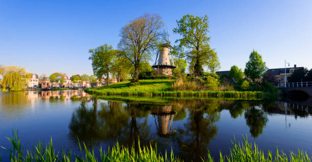 Windmill in Alkmaar, Netherlands stock photo