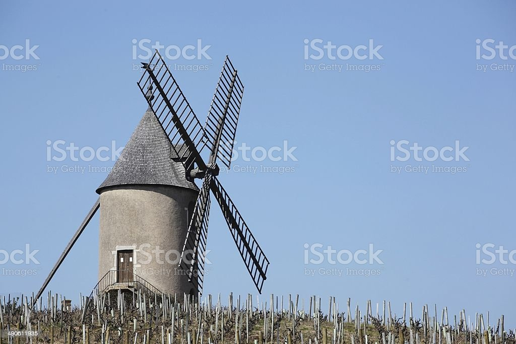 Moulin a vent in Beaujolais stock photo