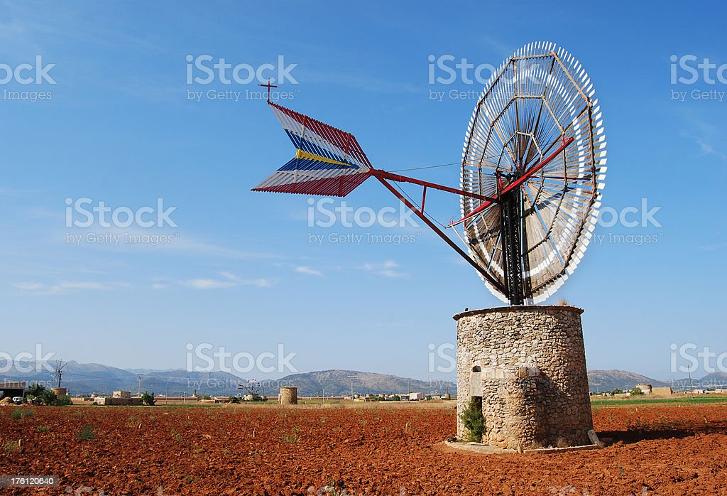 Windmill in Mallorca - Royalty-free Agricultural Field Stock Photo