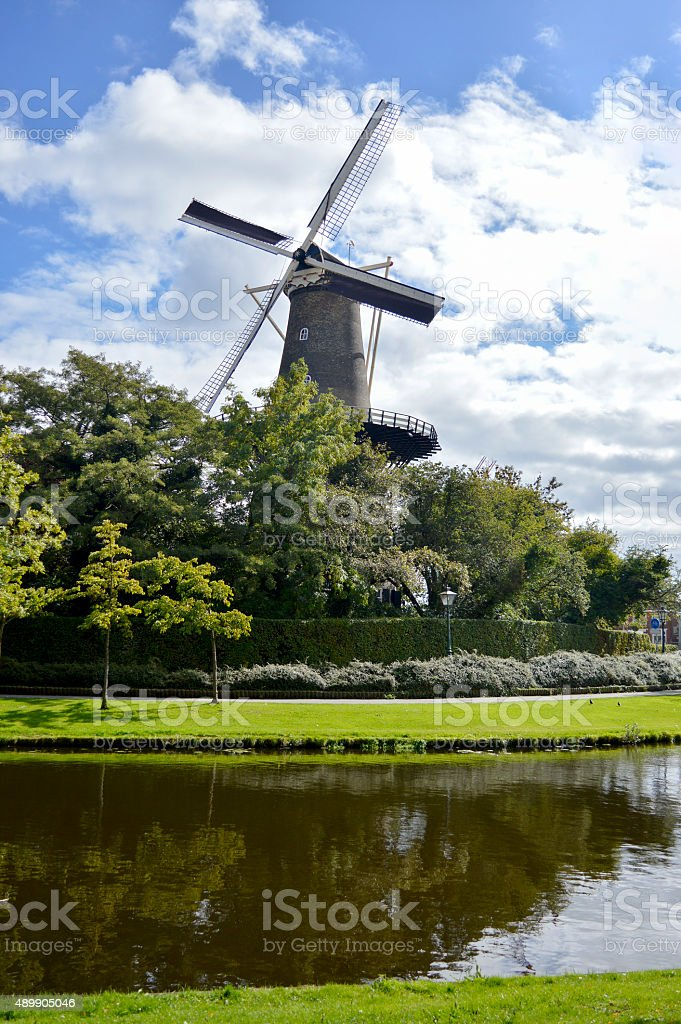 Windmill in Netherlands town Leiden stock photo