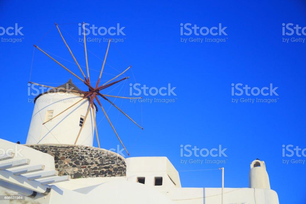 Windmill in Oia, Santorini stock photo
