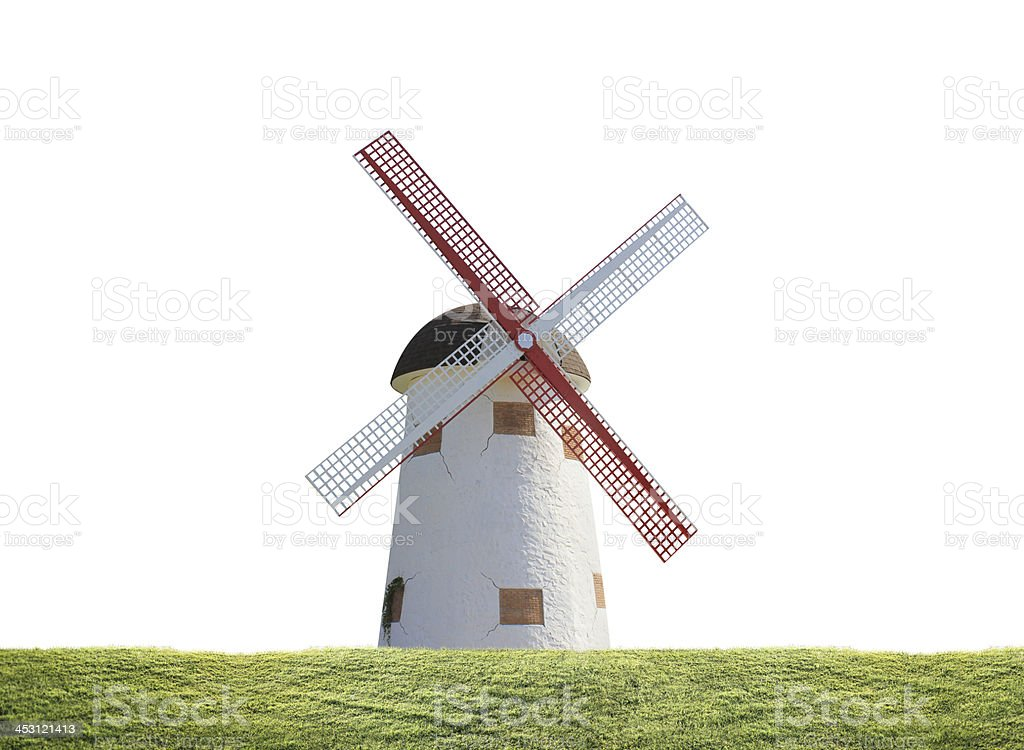 windmill in rice plant royalty-free stock photo