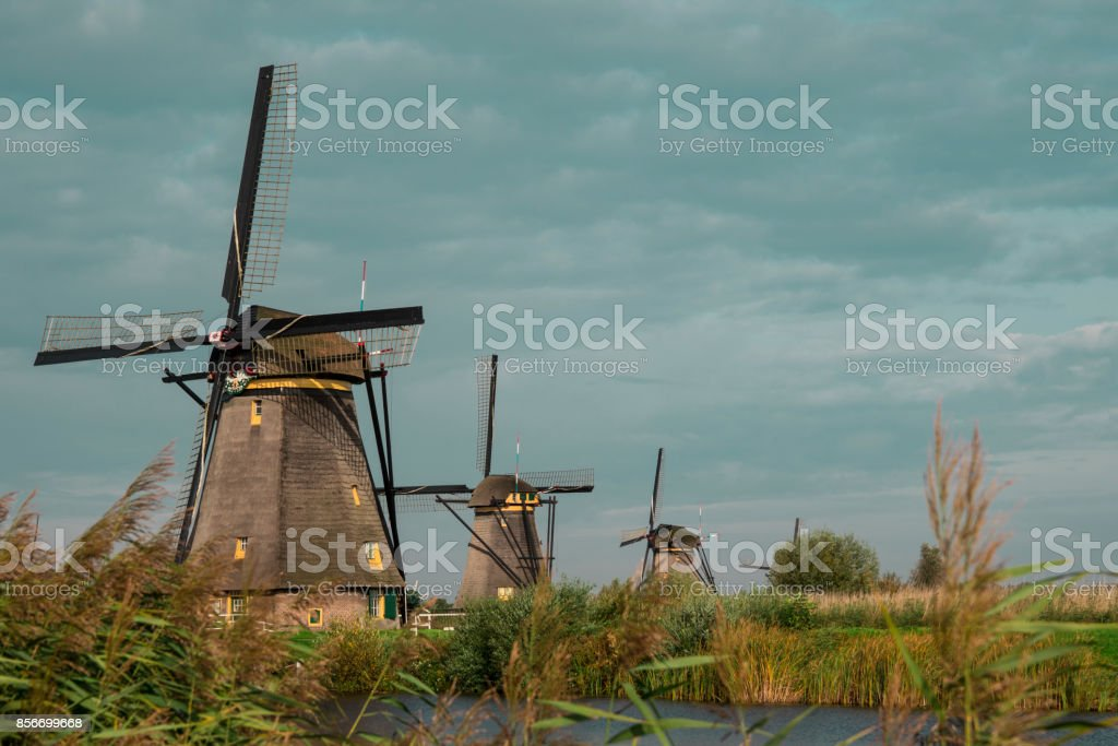 Windmill in row, Dutch water landscape, Kinderdijk, The Netherlands, against blue cloudy sky stock photo