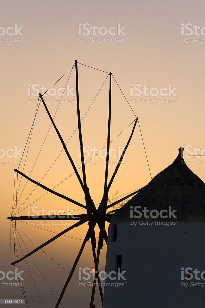 windmill in santorini royalty-free stock photo