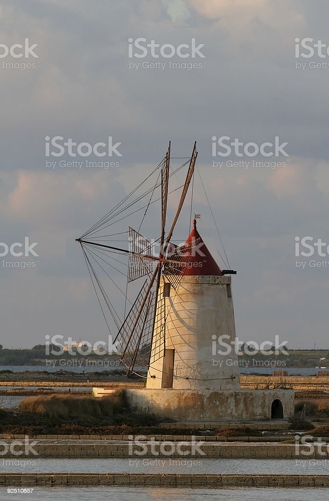 Windmill in Sicily royalty-free stock photo