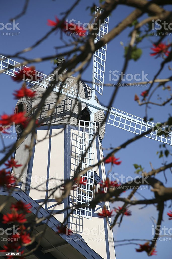 windmill in the spring stock photo