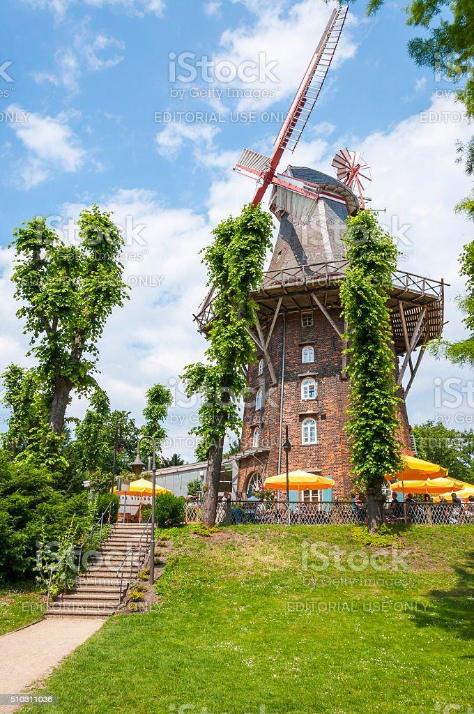 Windmill in Wallanlagen Park, Bremen, Germany stock photo