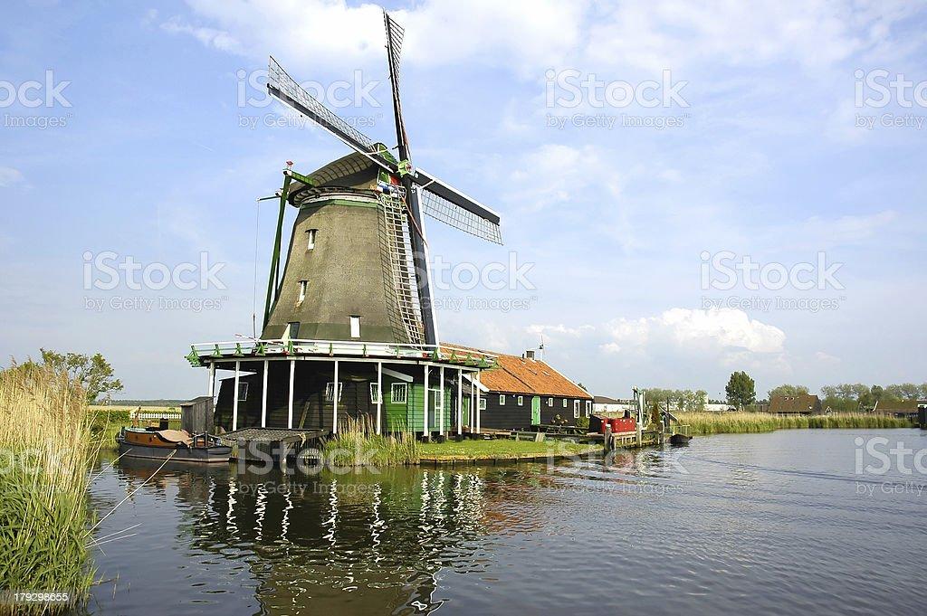 Windmill in Zaanse Schans stock photo