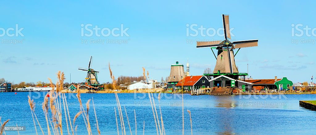 Windmill in Zaanse Schans, traditional village, Netherlands, North Holland stock photo