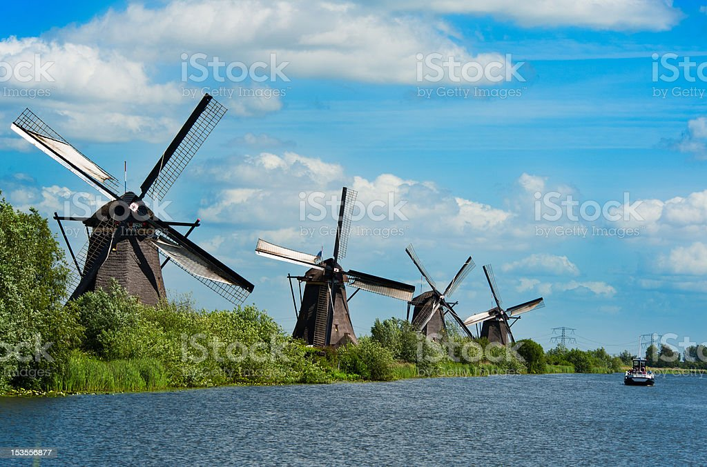 Windmill landscape at Kinderdijk The Netherlands royalty-free stock photo