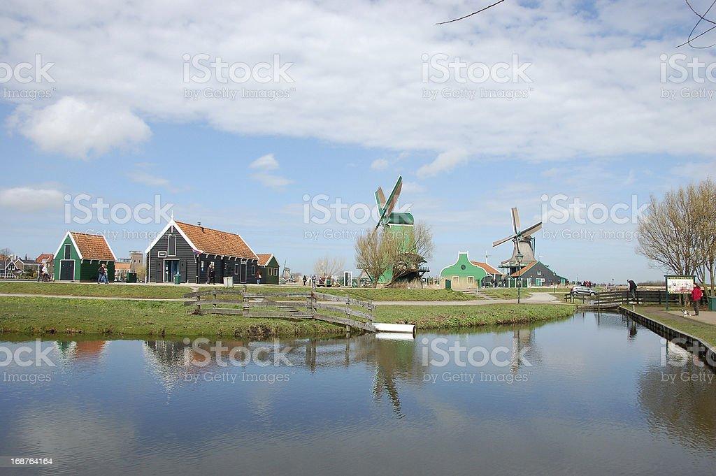 Windmill landscape in Zaanse Schans royalty-free stock photo