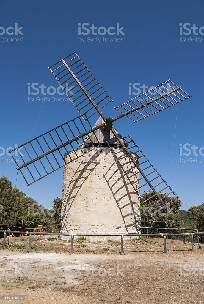 Windmill of happiness, Island Porquerolles, France stock photo