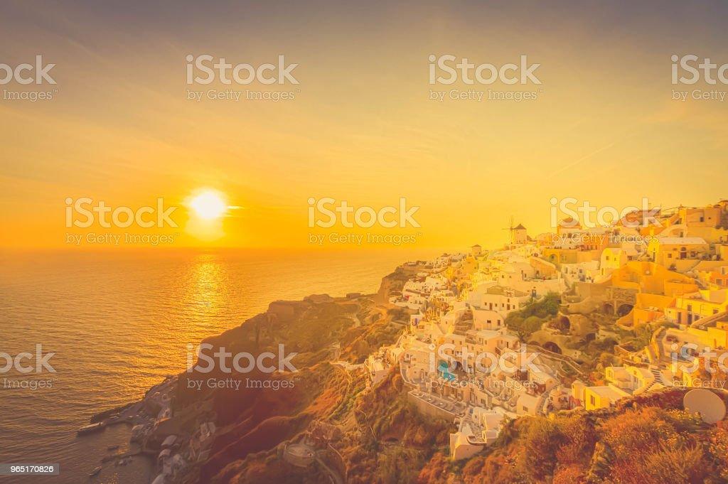 windmill of Oia at sunset, Santorini zbiór zdjęć royalty-free