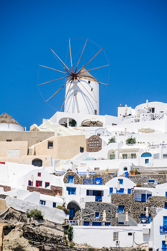 Windmill Of Oia Stock Photo - Download Image Now