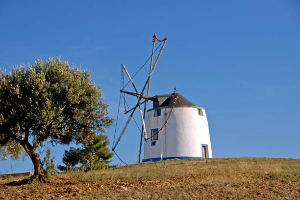 Windmill on a hill stock photo