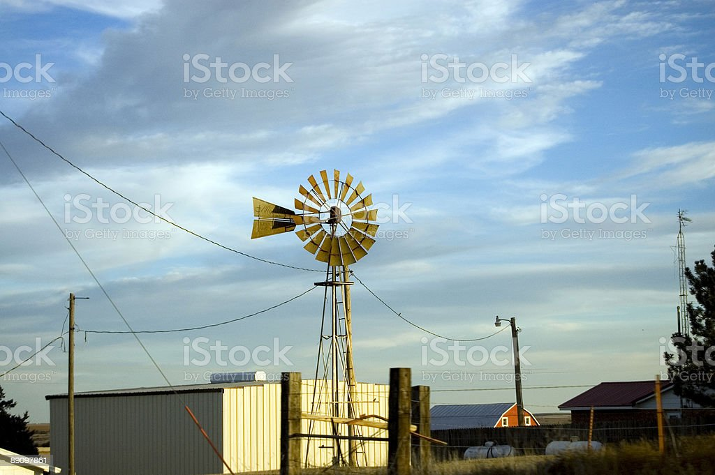 Windmill on Farm royalty-free stock photo