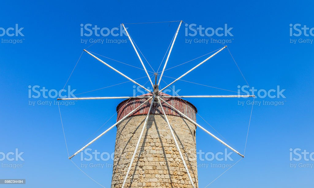 Windmill on the island of Rhodes foto royalty-free