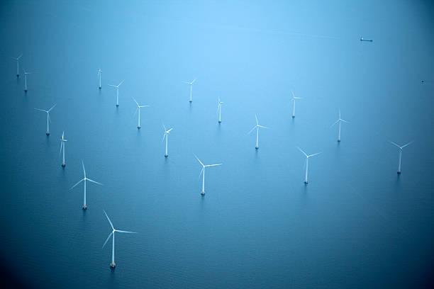 Windmill Park at Sea stock photo