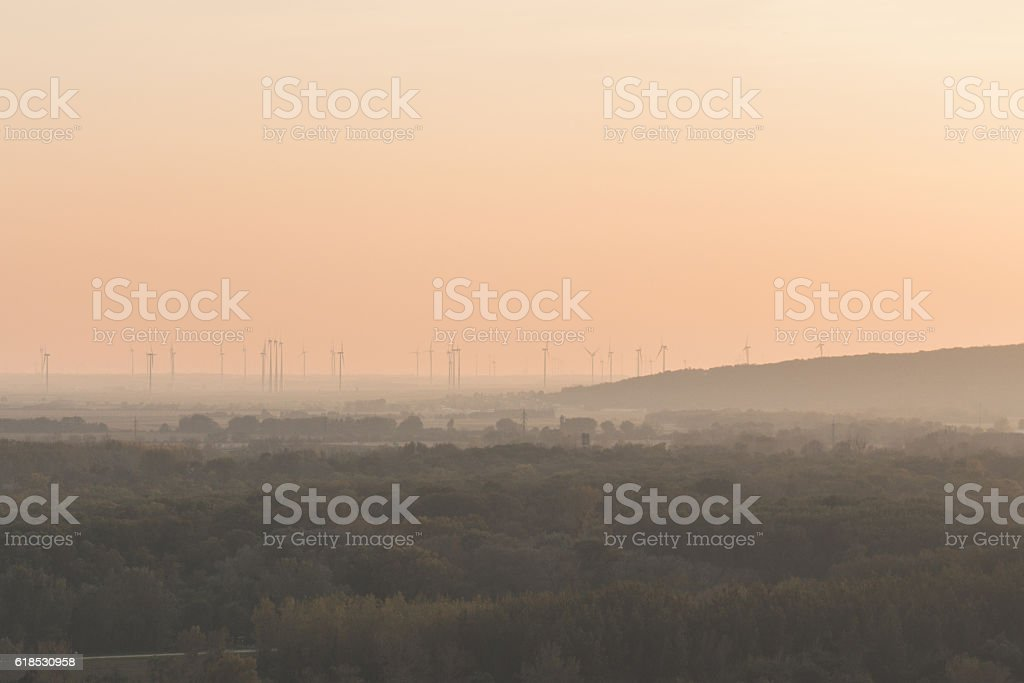 windmill park in nature, renewable energy park stock photo