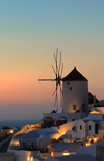 Windmill Santorini stock photo