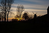 seen in medieval town Zons on the Rhine river in Germany - backlit windmill on town wall and trees