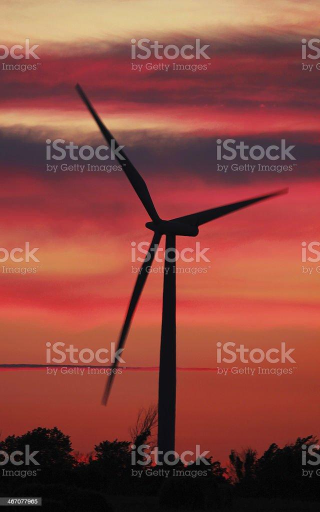 Windmill Sunset royalty-free stock photo