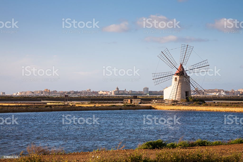 Windmill, Trapani, Sicily stock photo