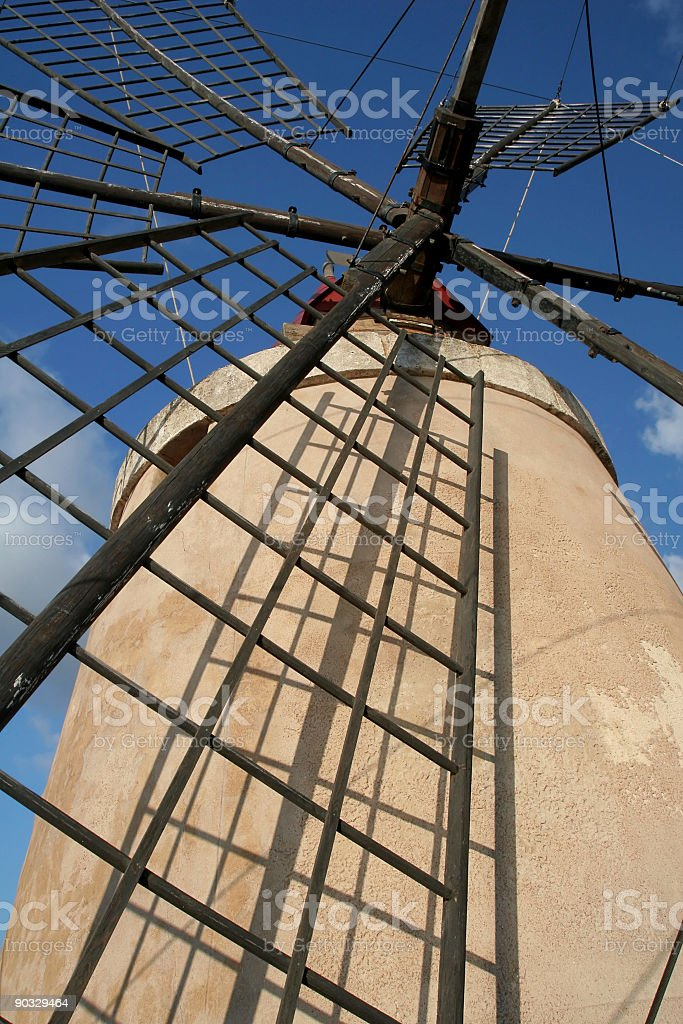 Windmill Up Close in Sicily royalty-free stock photo