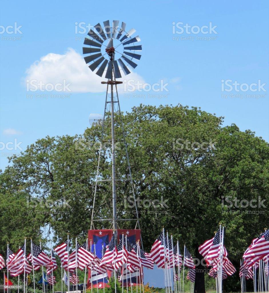 Windmolen, Amerikaanse vlag - Royalty-free Amerikaanse cultuur Stockfoto