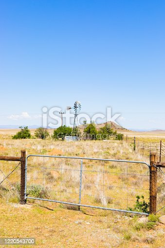 Windmill Windpump on a farm in rural grassland area of South Africa