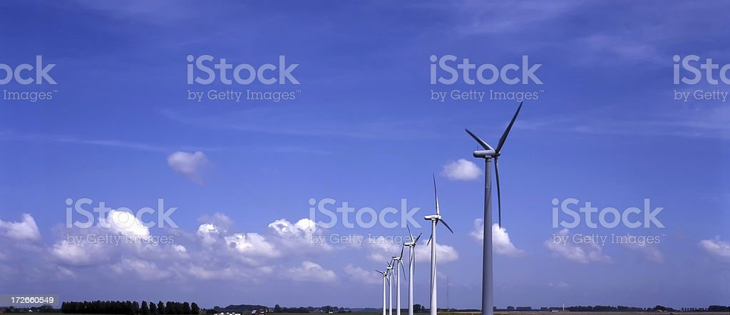 Windmills and a Blue Sky stock photo