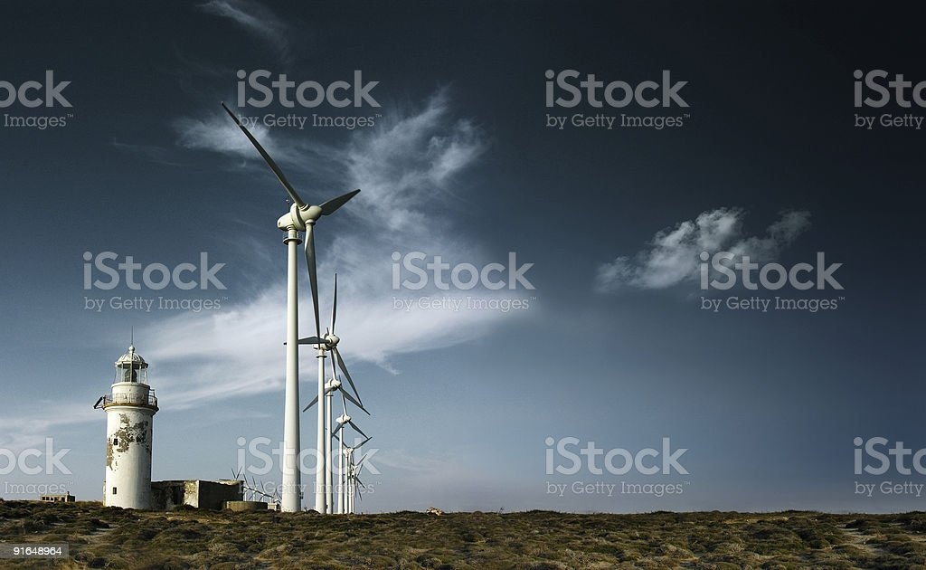 Windmills and Lighthouse stock photo