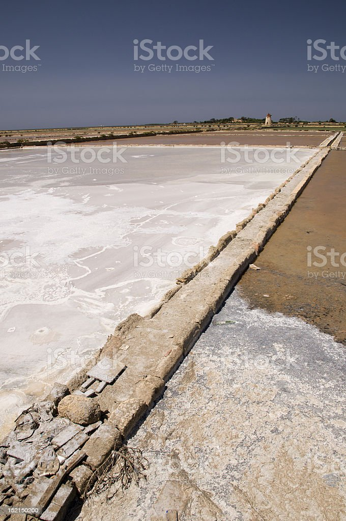 Windmills and salt marshes stock photo