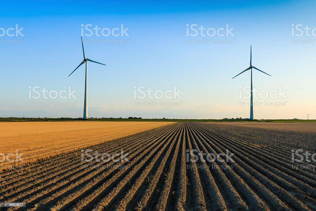 Windmills at farmer fields stock photo