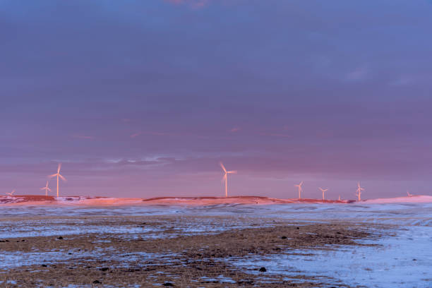 Windmills at sunset - foto stock