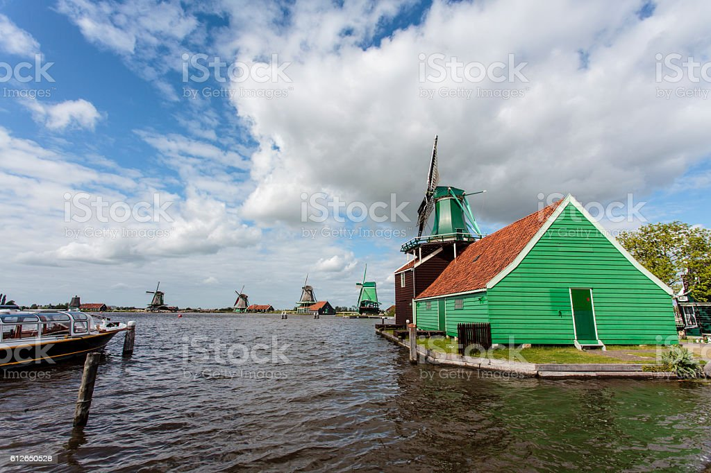 Windmills at the Zaanse Schans in North Holland, The Netherlands stock photo