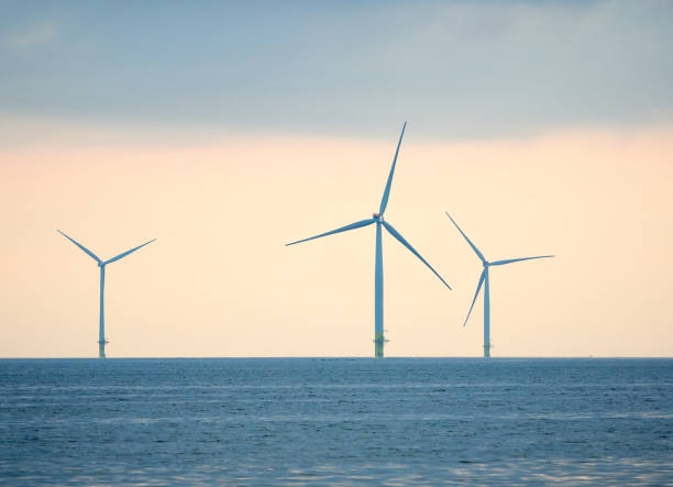Windmills for renewable energy production in seascape. stock photo