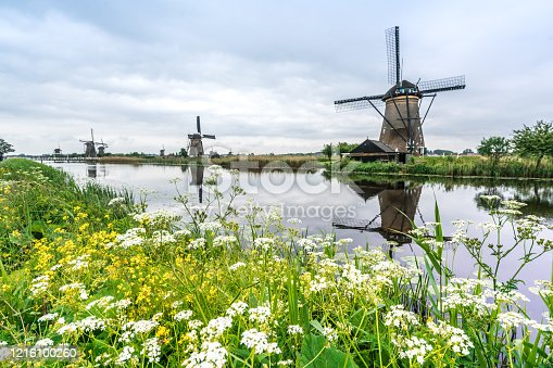windmills in a cloudy and windy day