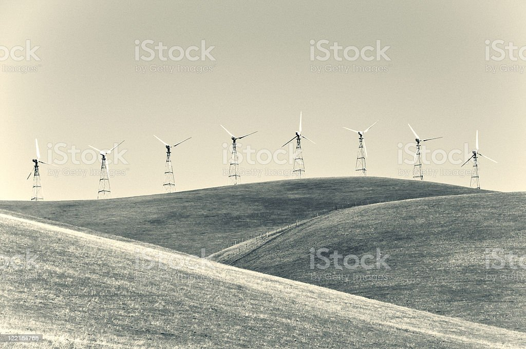 Windmills in Black and White stock photo