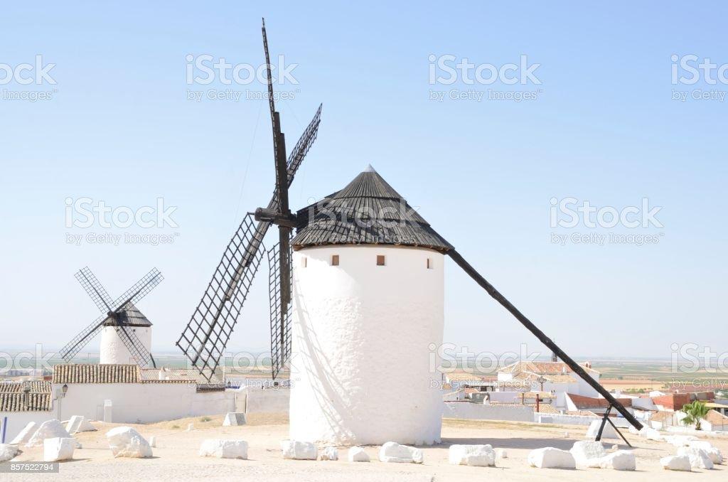Windmills in Castile village stock photo