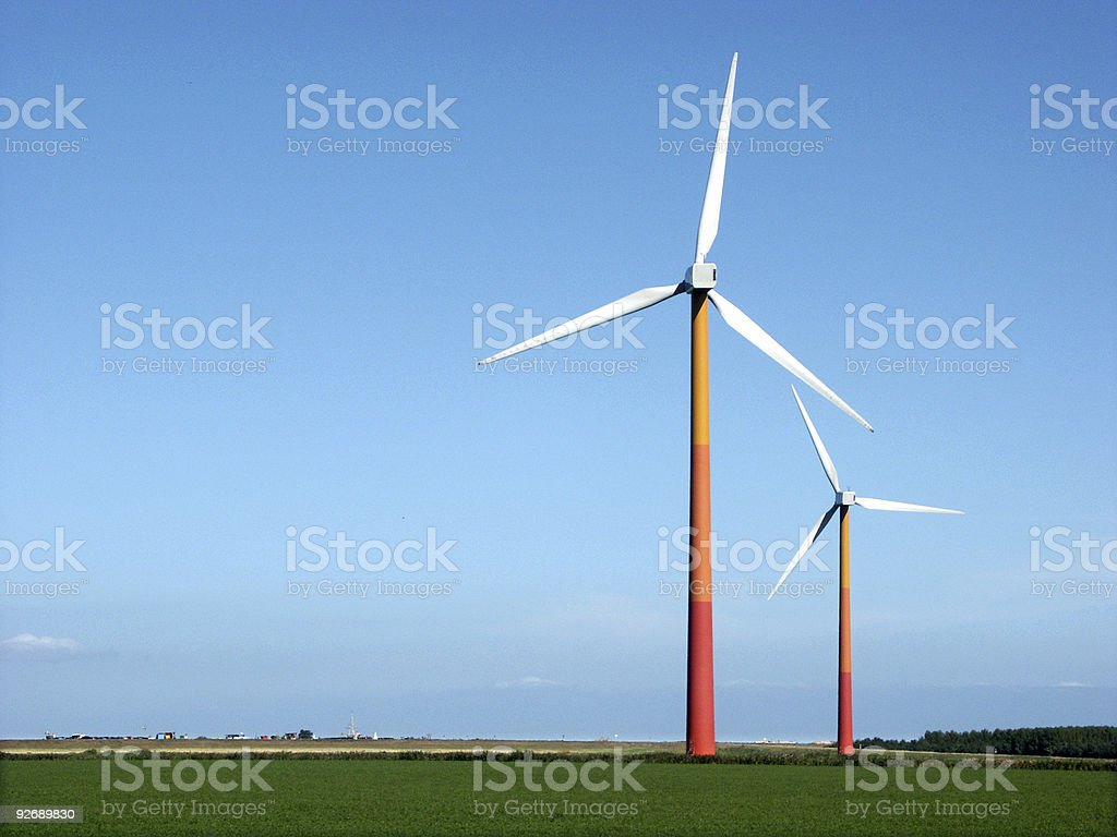 Windmills in Dutch Landscape royalty-free stock photo
