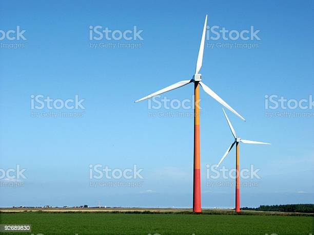 Windmills In Dutch Landscape Stock Photo - Download Image Now