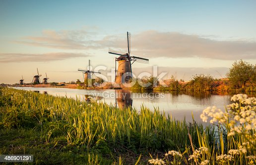 Famous group of windmills in Kinderdijk, Netherlands.