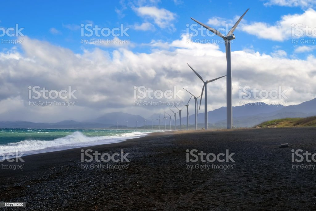 Windmills in north area of Philippines stock photo