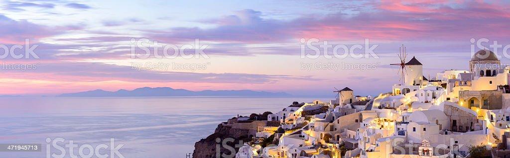 Windmills in Oia Village on Santorini Island Greece stock photo