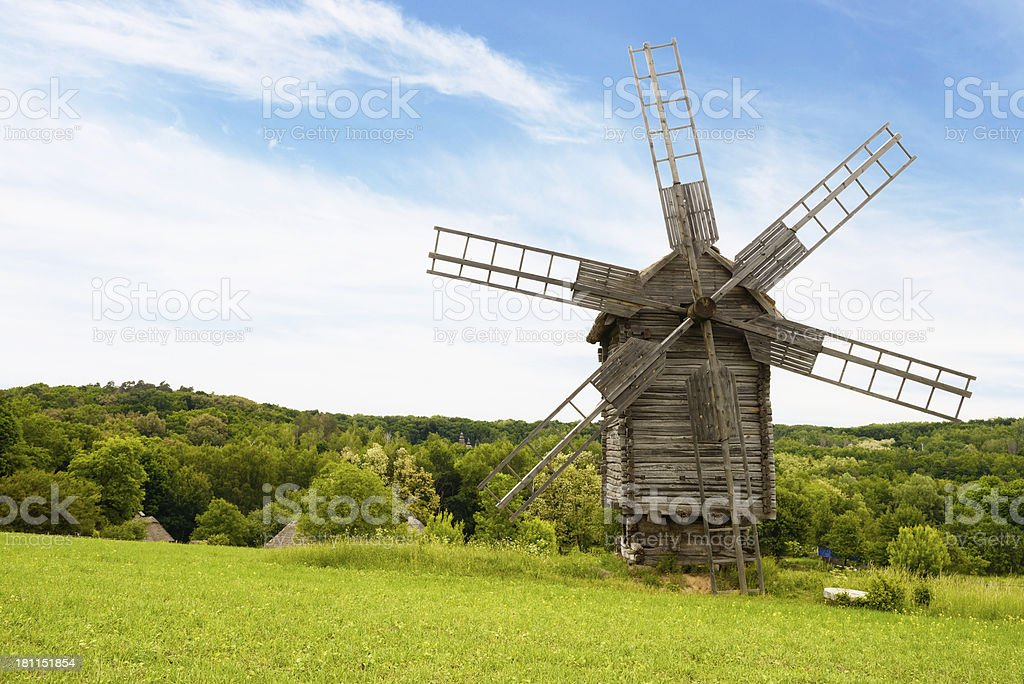 Windmills in Pirogovo royalty-free stock photo