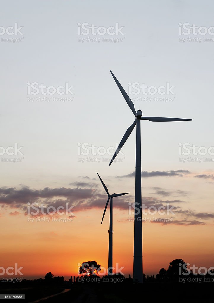 Windmills in the evenings sun royalty-free stock photo