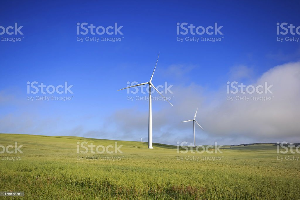 Windmills in the Fog royalty-free stock photo